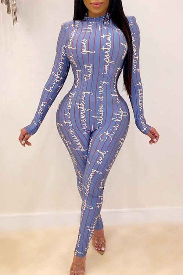 Long Sleeve Letter print Round Collar Bodycon Jumpsuit