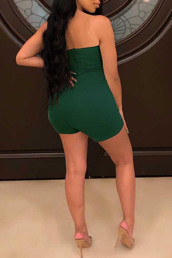 Sleeveless Solid Color Bandeau Bodycon Romper
