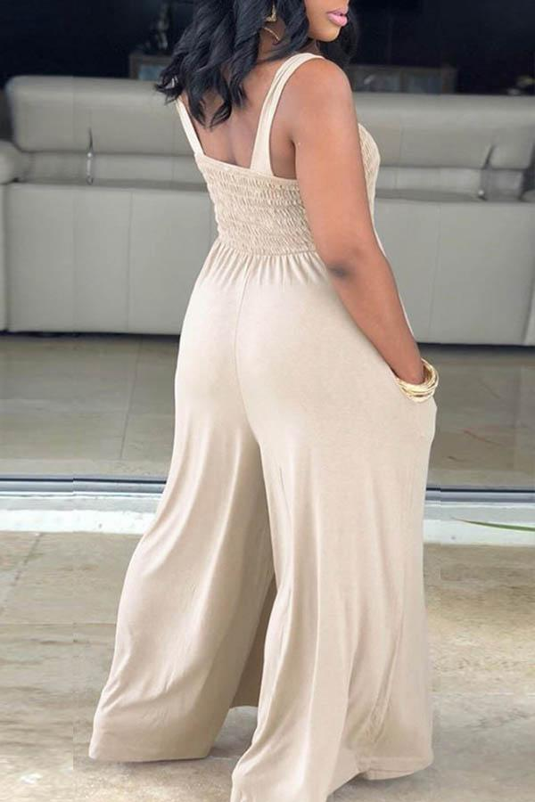 Sleeveless Solid Color Spaghetti Strap Leisurewear Jumpsuit