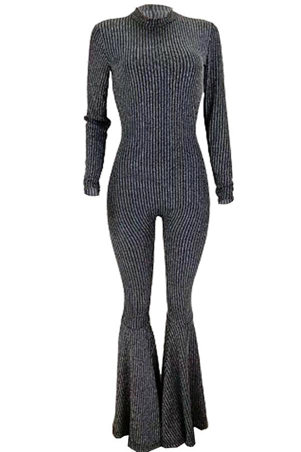 Long Sleeve Sequined Round Collar Flared Jumpsuit