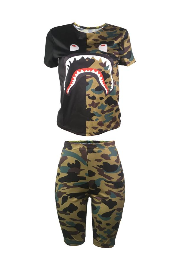Short Sleeve Camouflage Round Collar Casual Wear Short Set