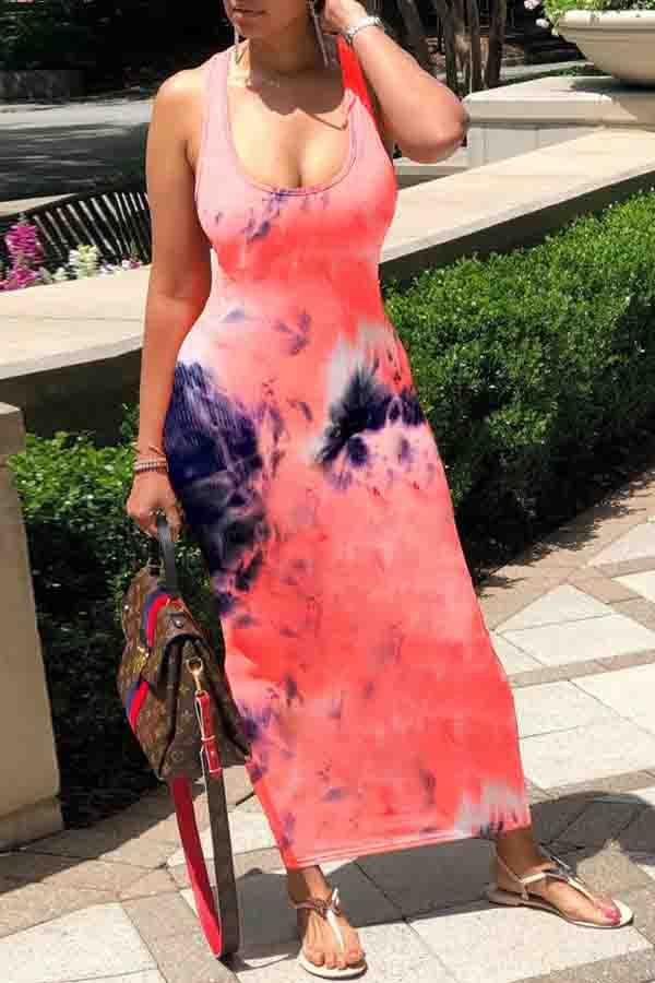 Tie Dye U collar Fork opening Dress
