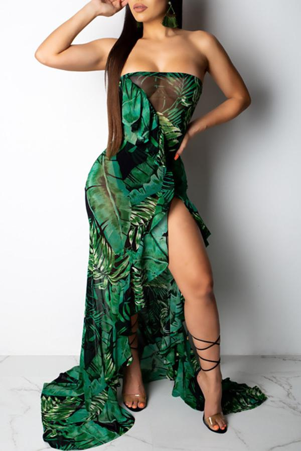 Sleeveless Plant print Off Shoulder Asymmetric Dress