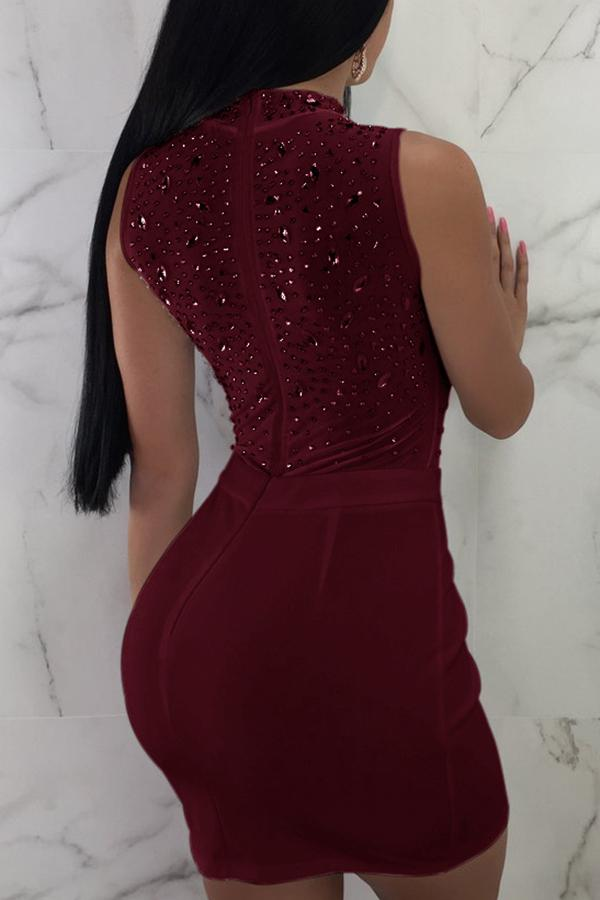 Sleeveless Sequined Round Collar Bodycon Dress