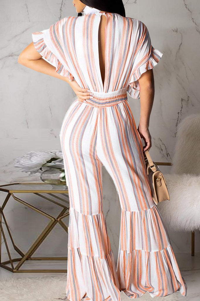 Batwing Sleeve Pinstripe V Neck Flared Jumpsuit