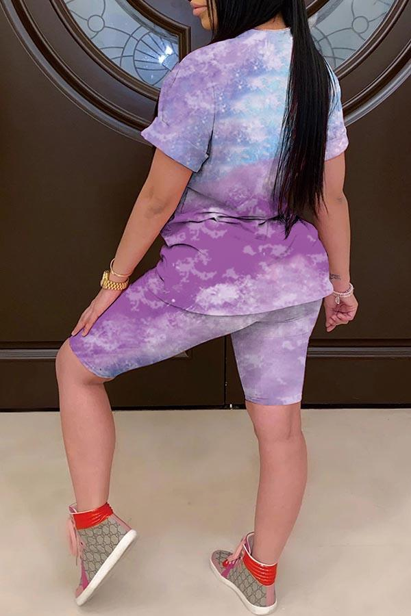 Tie Dye Round Neck Casual Wear Short Set