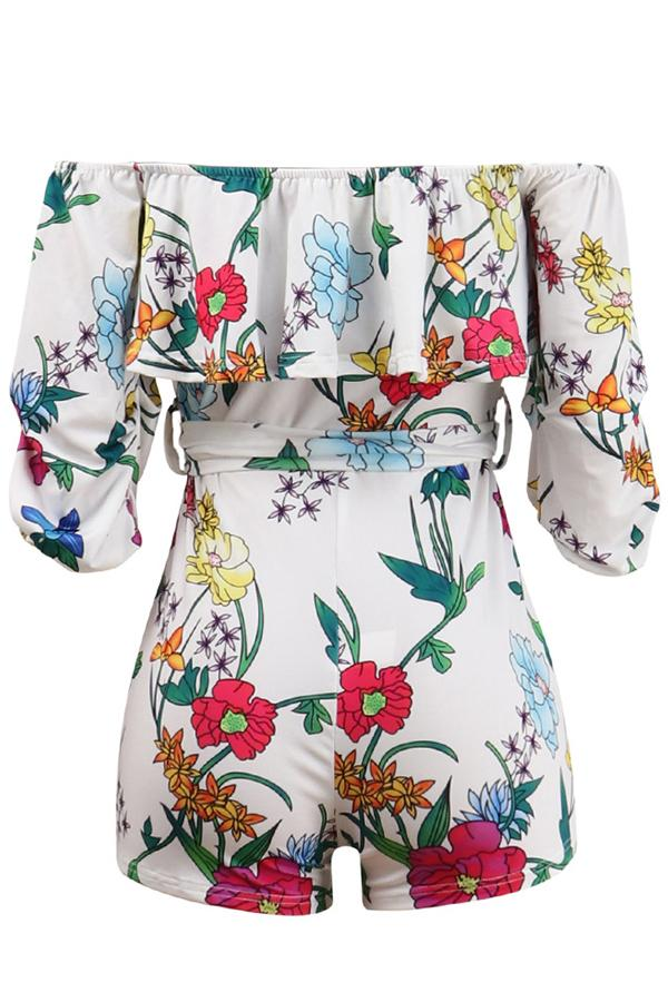 Tiered Sleeve Natural Print Off Shoulder Bodycon Romper