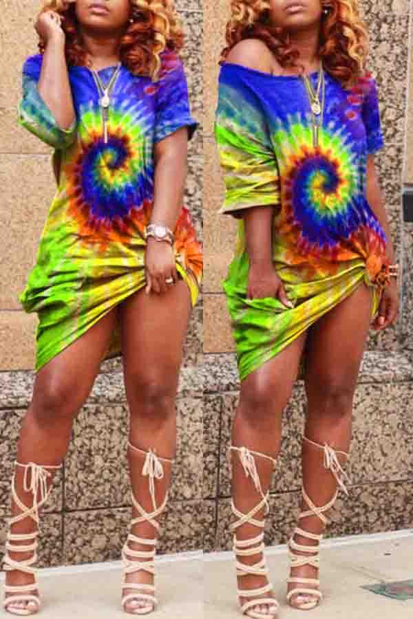 Half Sleeve Tie Dye Round Neck Casual Wear Dress