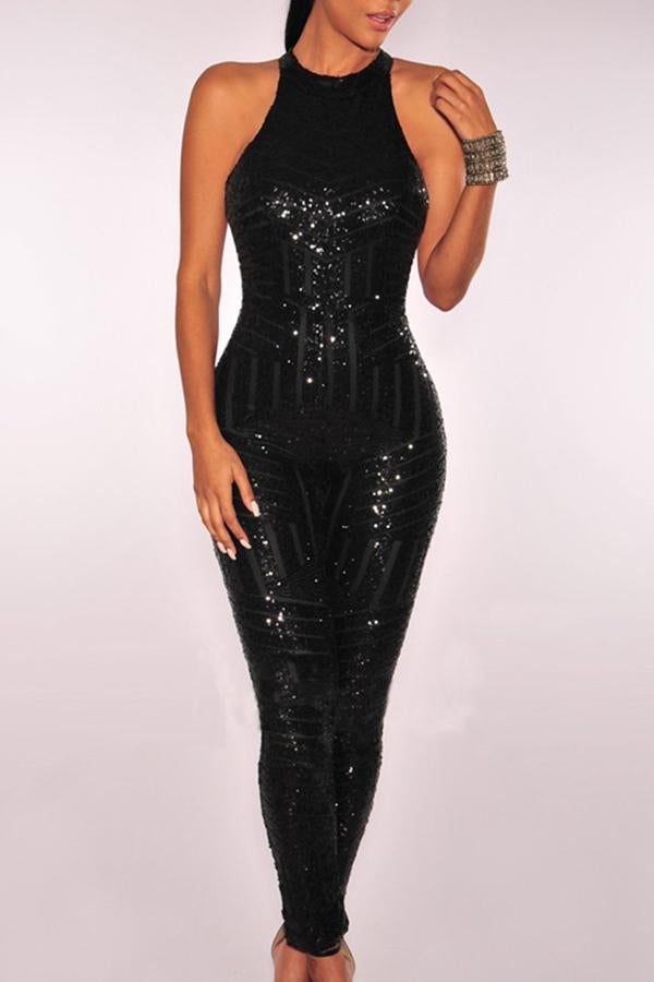 Sleeveless Sequined Round Collar Backless Jumpsuit
