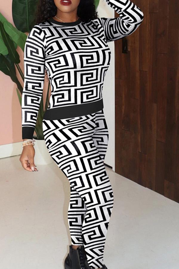 Long Sleeve Graphic Print Round Neck Casual Wear Set