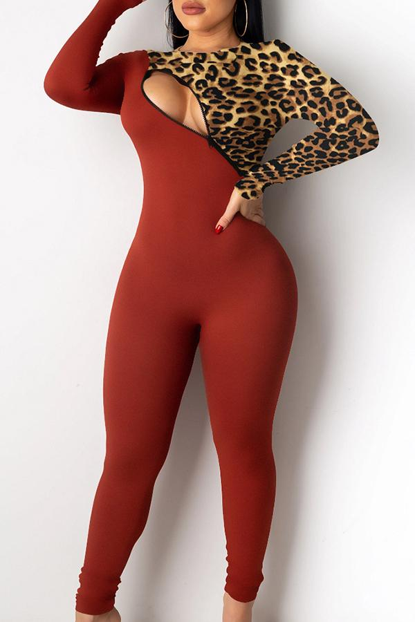 Long Sleeve Leopard Print Patchwork Round Collar Casual Wear Jumpsuit