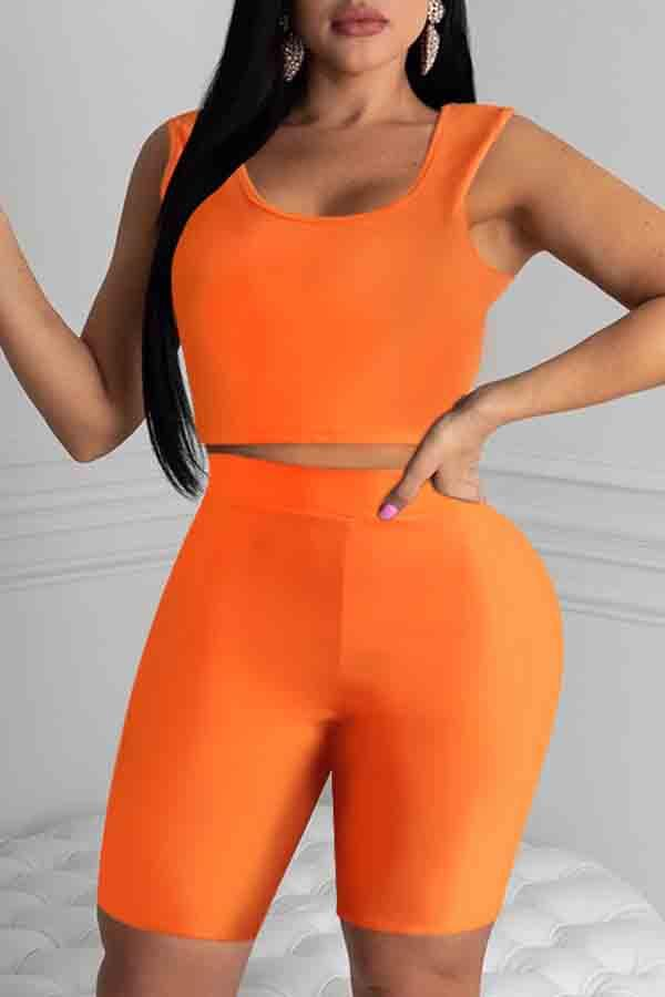 Sleeveless Solid Color Round Collar Bodycon Set