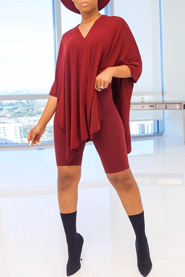 Batwing Sleeve Solid Color V Neck Casual Wear Set