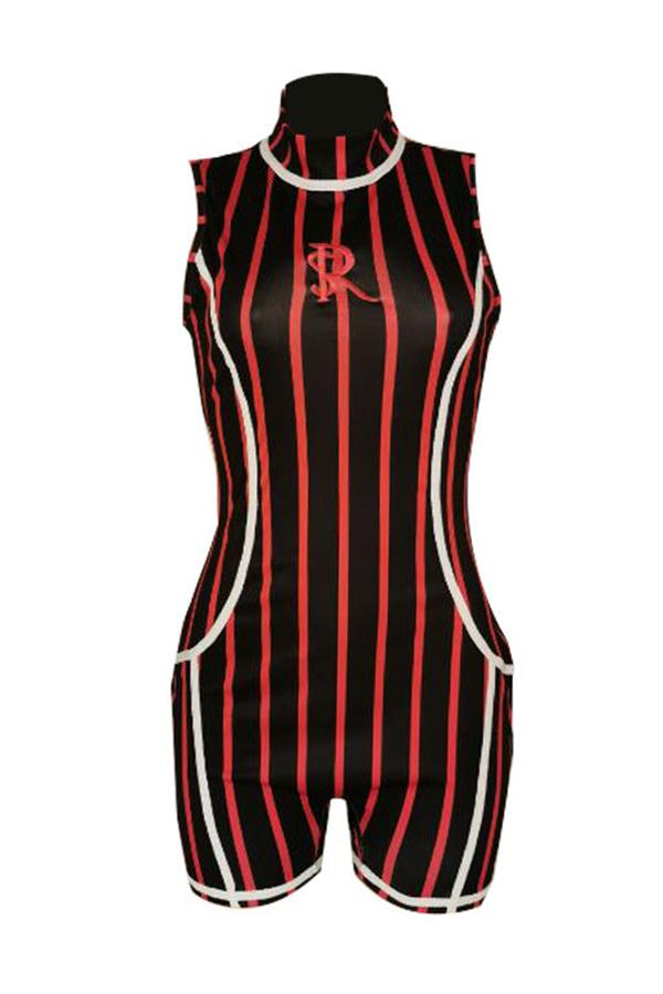 Sleeveless Pinstripe High Neck Bodycon Romper