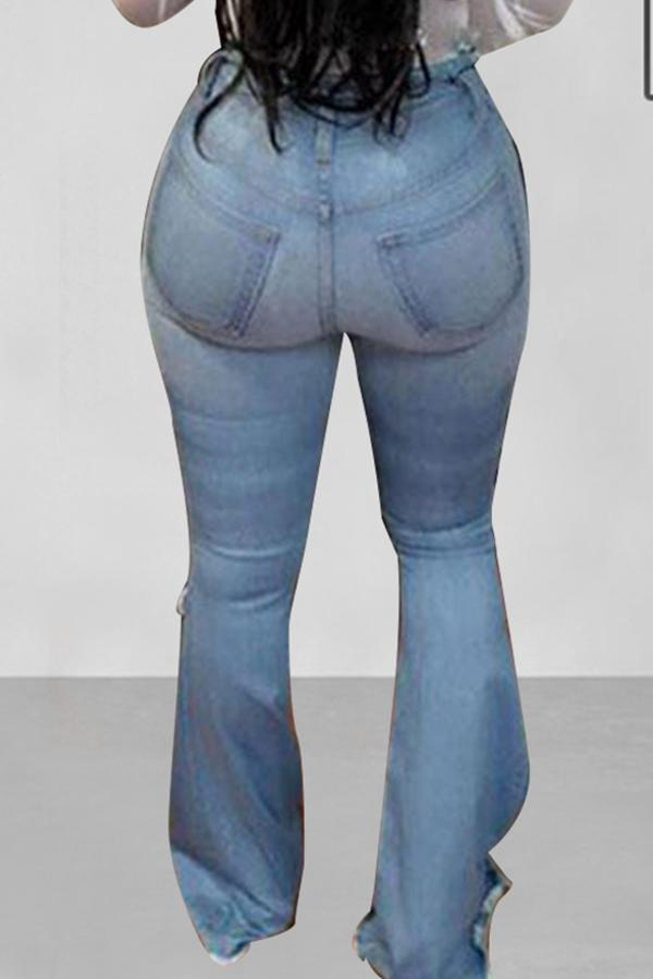 High Waist Solid Color Flared Flares Jeans