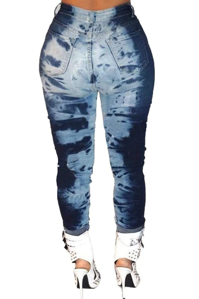 Plus Size Denim Digital Print Jeans