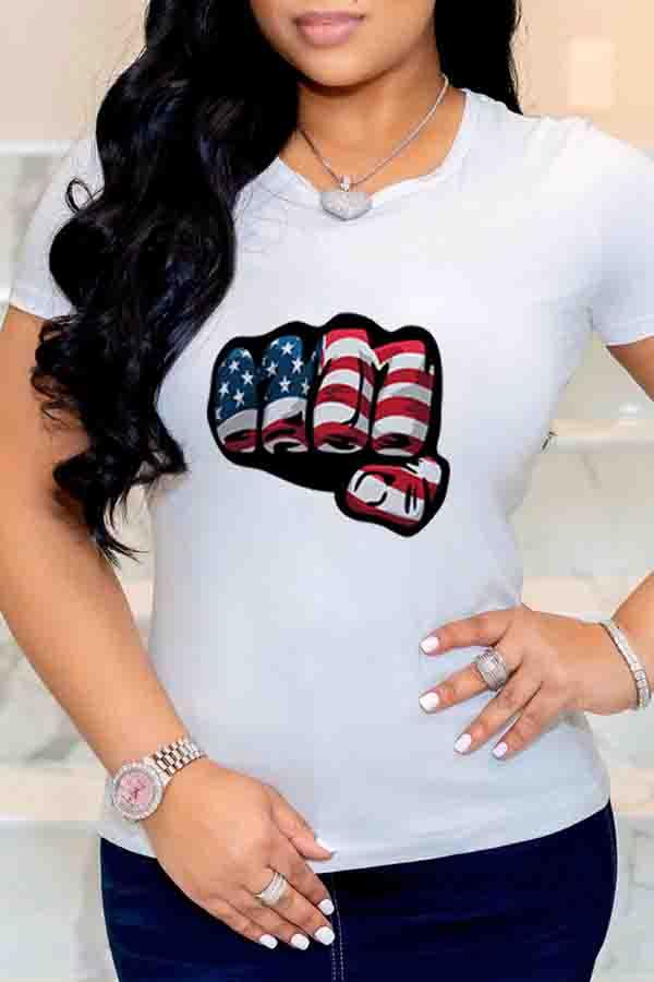 National flag Round Neck Casual Wear T-Shirt