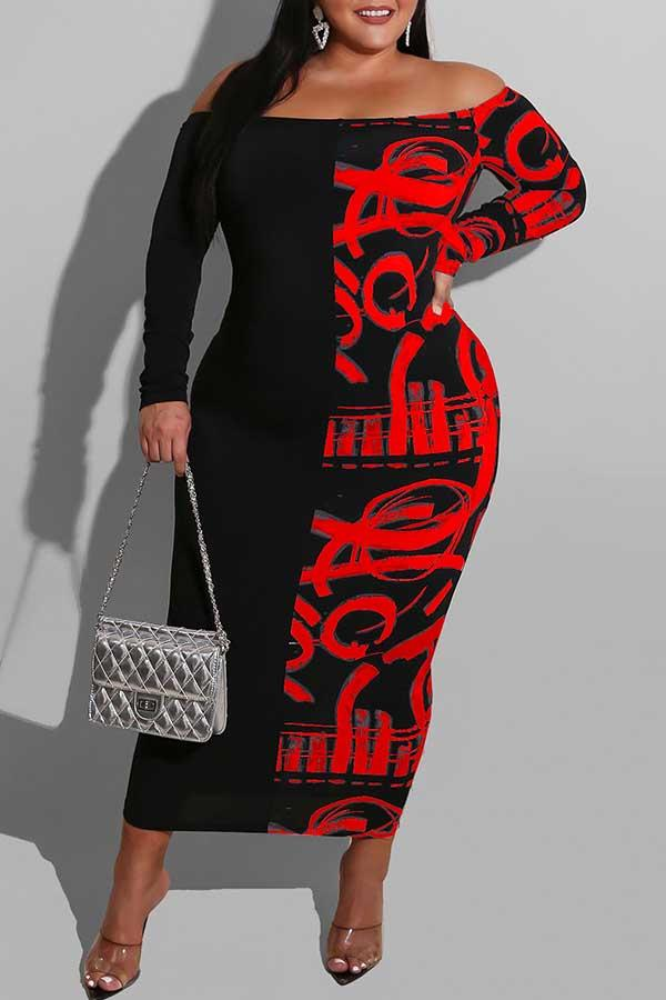Long Sleeve Patchwork Off Shoulder Bodycon Dress