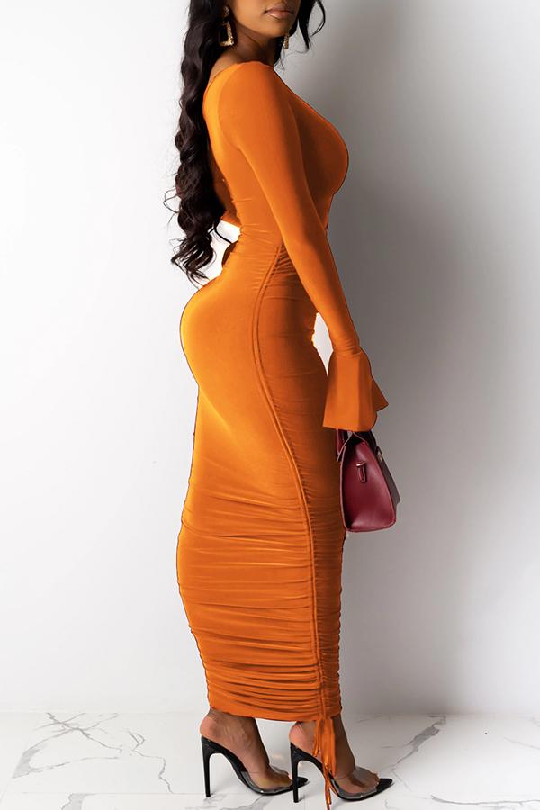 Trumpet Sleeve Solid Color One Shoulder Casual Wear Dress