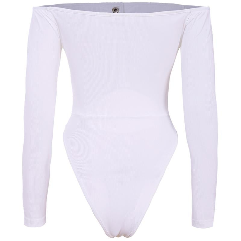 Long Sleeve Solid Color Off Shoulder All-in-One Bikini