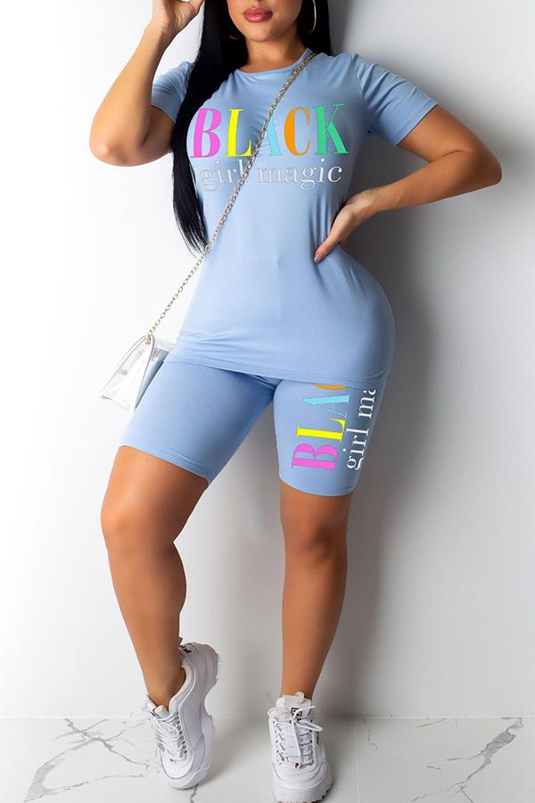 Short Sleeve Letter print Funnel Neck Bodycon Set