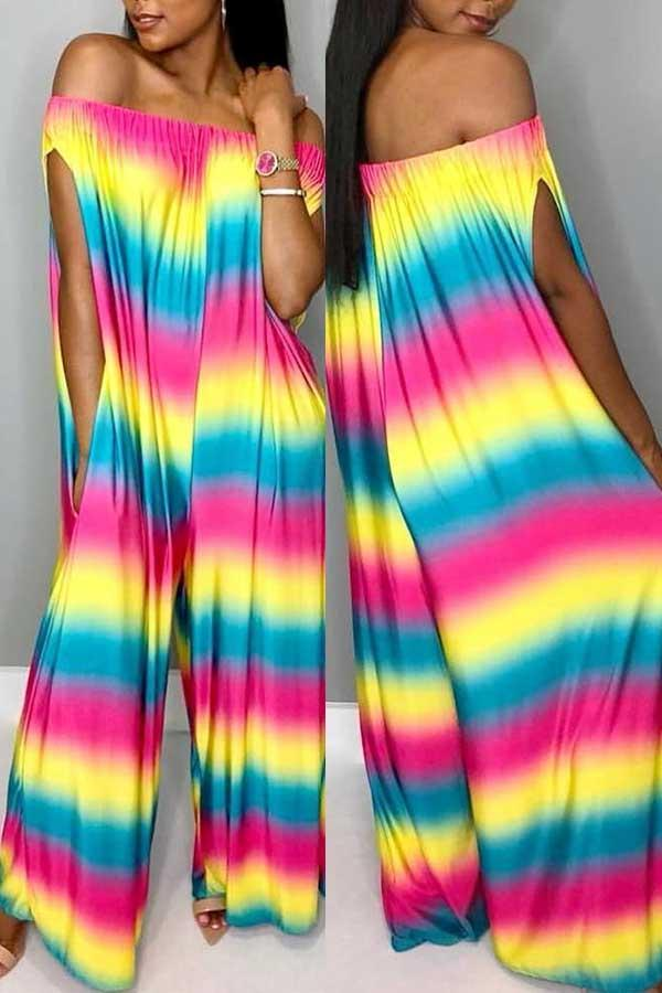 Short Sleeve Tie Dye Off Shoulder Casual Wear Jumpsuit