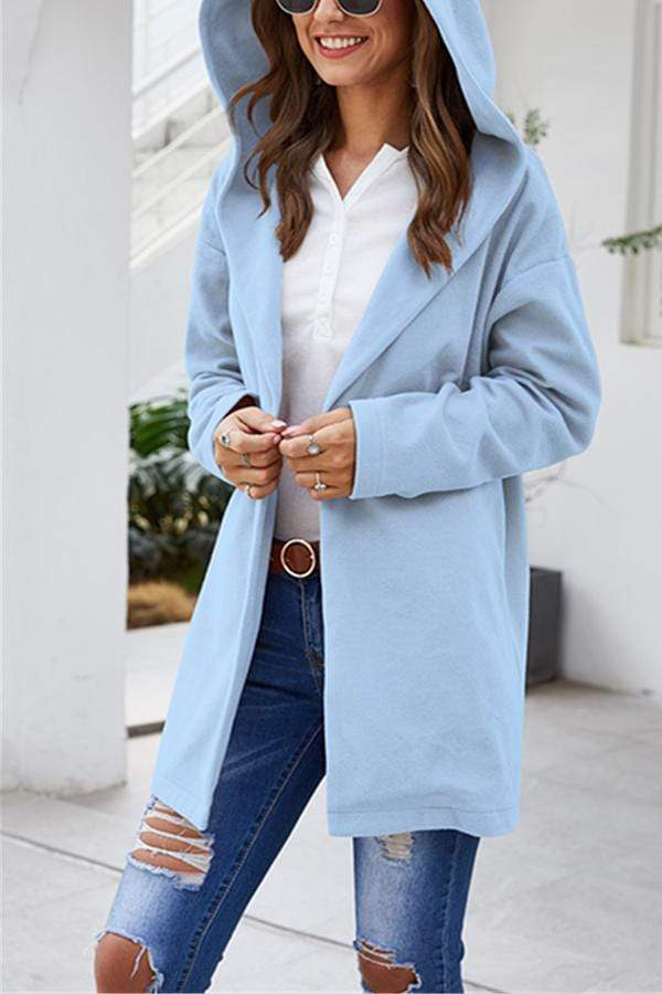 Solid Color Hooded Loose Coat