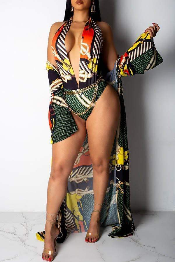 Print Robe & Swimsuit