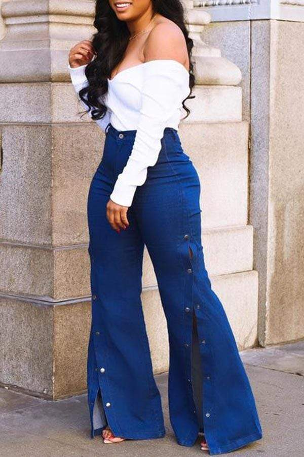 Wide Legs High Waist Springy Jeans