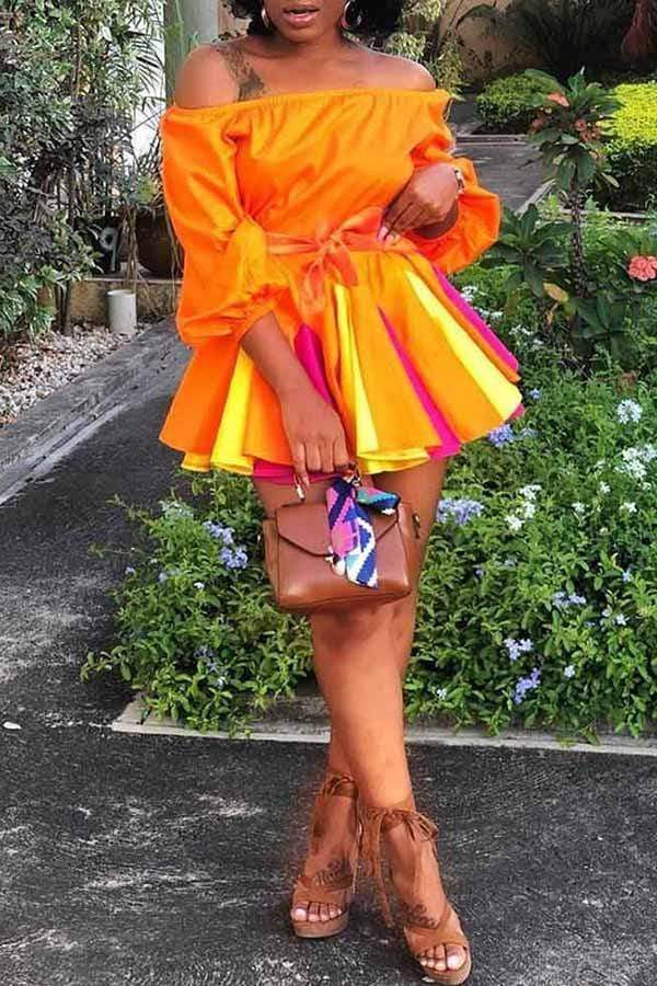 Off Shoulder Splicing Colour Collision Dress