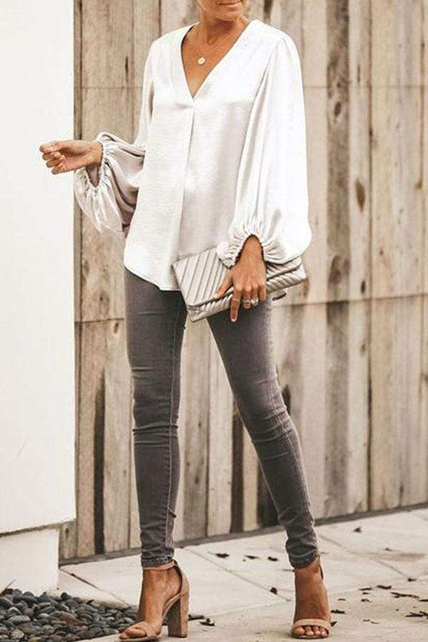 Solid Color V-Collar Long Sleeve Shirt