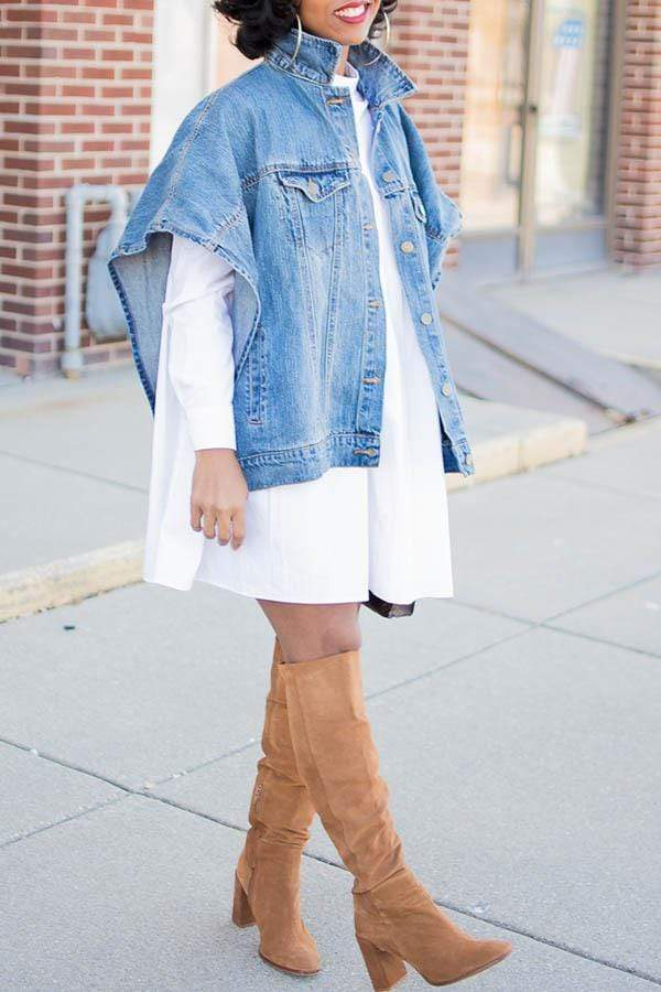 Solid Color Sleeveless Loose Denim Coat