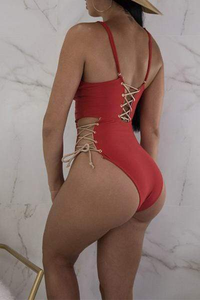 Lace Up Cut Out One Piece Swimsuit
