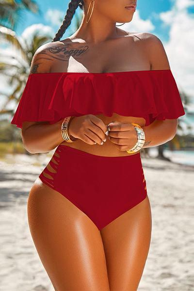 Ruffle Top Off the Shoulder High Waist Two Piece Bikini Bathing Suit