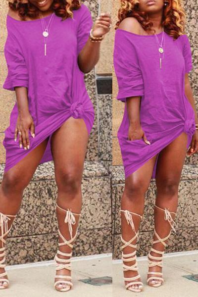 Half Sleeve Short Knotted T-Shirt Dress