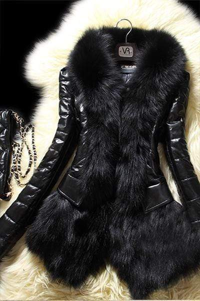 Black Shiny Faux Fur Long Sleeve Wide Collar Coat Jacket