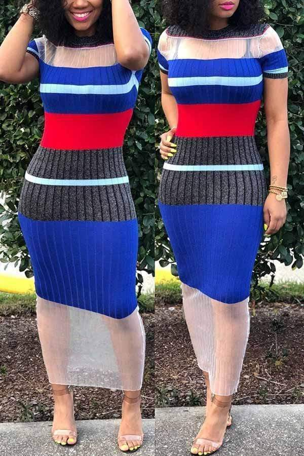 Sheer Color Block Dress