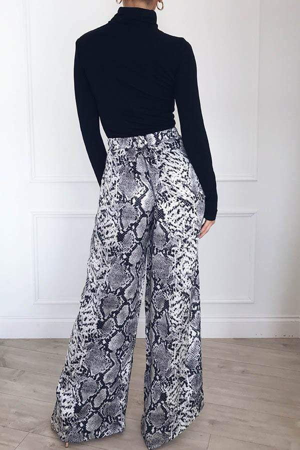 High Waist Loose Leopard Broad-Legged Trousers