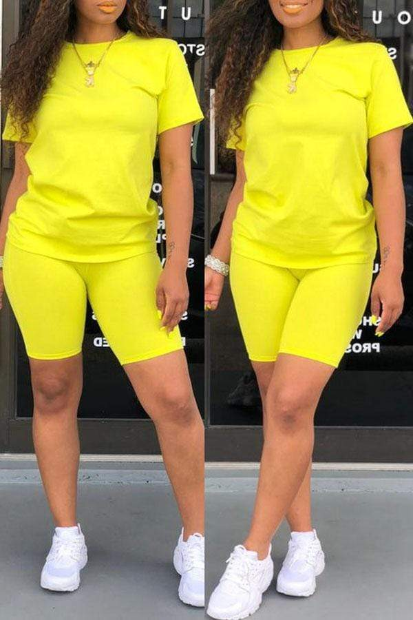 Fluorescent Sports Short Sleeve Suit