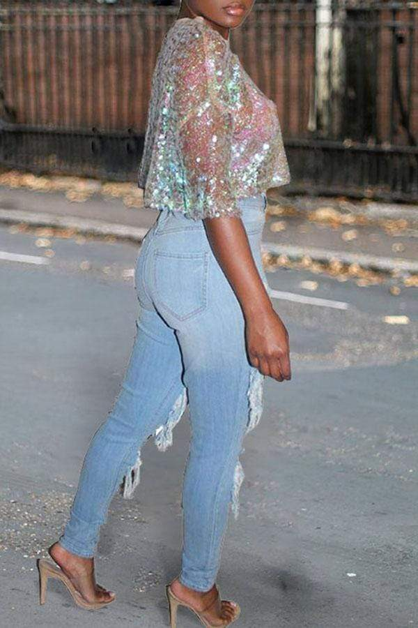 Middle Sleeve Sequined Top