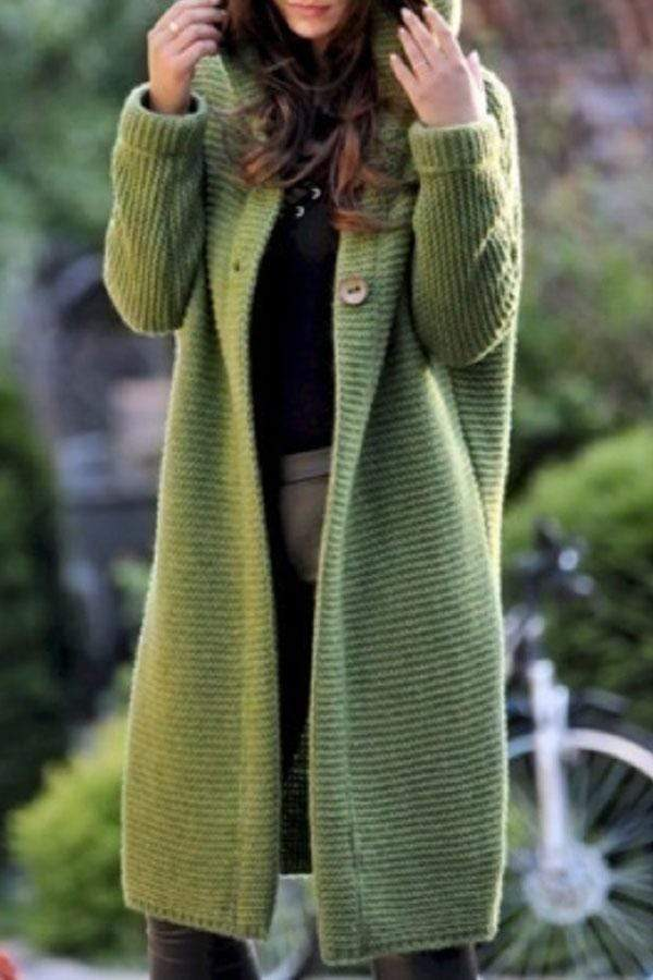 Solid Color Button Cardigan Coat