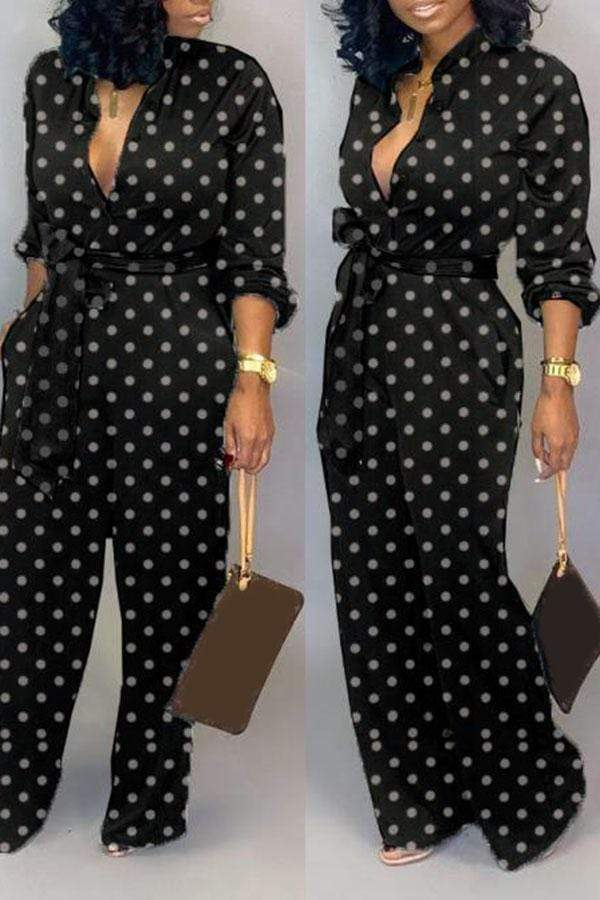 Point Printed Long-Sleeve Jumpsuit