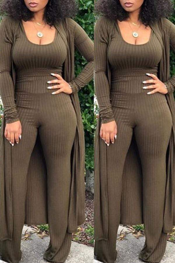 Long Sleeve Solid Color Three Piece Club Set