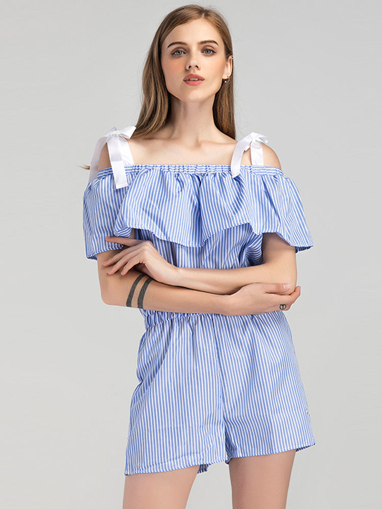 Elegant Tie Neck Ruffle Striped Jumpsuit