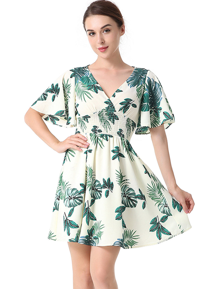 High Quality Tropical V-neck Half Sleeve Mini Skater Dresses