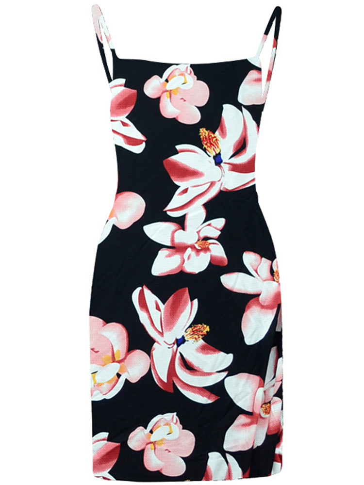 High Quality Sling Dress Dot Floral Printed Day Dress
