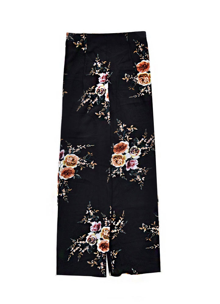 Elegant Flower Print Asymmetric Split Wrap Skirt