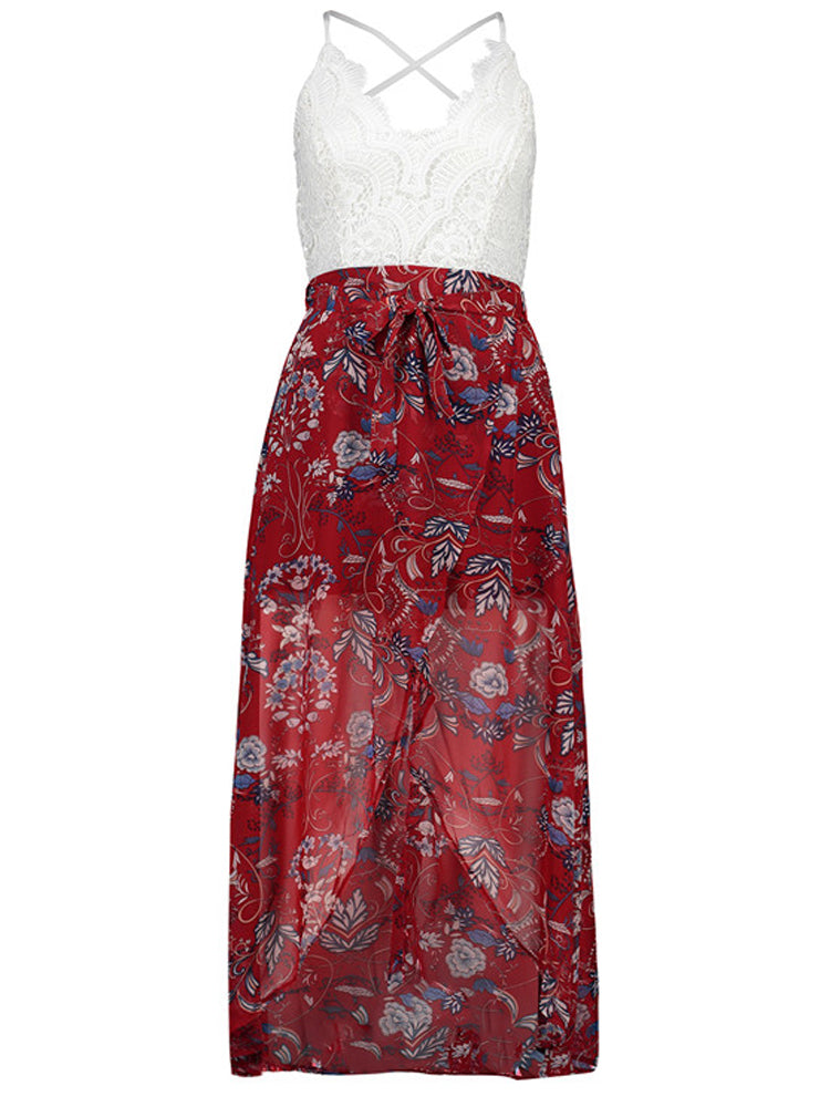 Trendy V-Neck Cami Straps Backless Floral Print Maxi Dress