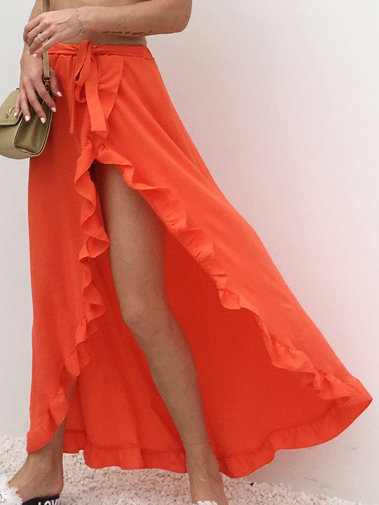 Split Ruffle Red Half Long Red Skirt