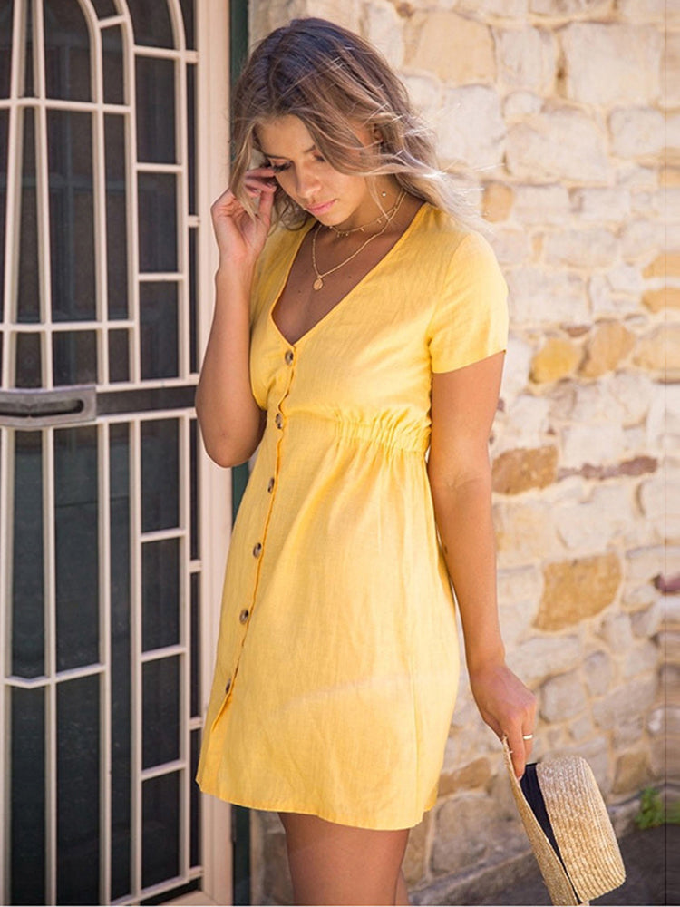 V Neck Button Up Dresses